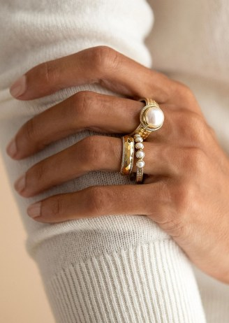 ANNA BECK REIMAGINED PEARL MULTI STONE RING – GOLD / boho rings / pearls / bohemian jewellery