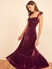 Reformation Antoinette Dress in Plum | fitted bodice