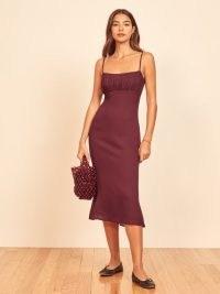 REFORMATION Arie Dress ~ plum coloured cami strap dresses