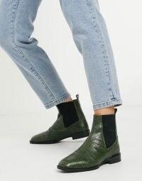 ASOS DESIGN Alyssa leather chelsea boots in green croc ~ crocodile effect footwear