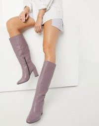 ASOS DESIGN Comet leather pull on boots in lilac