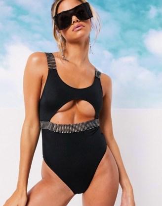 ASOS DESIGN diamanté strap cut out swimsuit in black / embellished swimwear - flipped