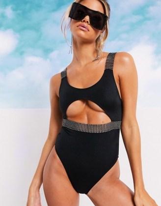 ASOS DESIGN diamanté strap cut out swimsuit in black / embellished swimwear