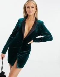 ASOS DESIGN jersey longline tux blazer in dark green velvet ~ going out blazers ~ evening jacket dresses