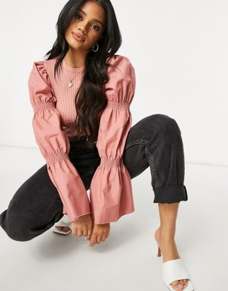 ASOS DESIGN jumper with puff sleeve detail in dusky pink - flipped