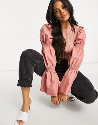 ASOS DESIGN jumper with puff sleeve detail in dusky pink
