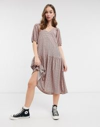 ASOS DESIGN midi smock dress with pep hem in red check print / checked drop waist dresses