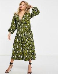 ASOS DESIGN oversized long sleeve midi smock with drop waist in khaki and black leopard ~ green animal print dresses