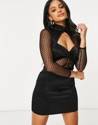 ASOS DESIGN peekaboo stretch satin mini aline dress with mesh insert in black ~ glamorous lbd ~ party wear - flipped