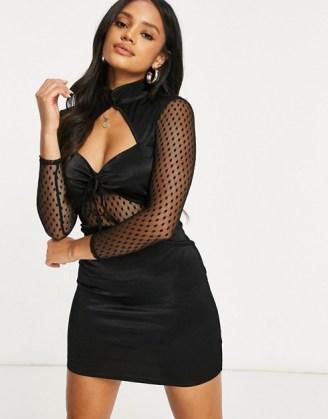 ASOS DESIGN peekaboo stretch satin mini aline dress with mesh insert in black ~ glamorous lbd ~ party wear