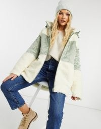 ASOS DESIGN quilted fleece puffer jacket in sage and cream ~ winter jackets