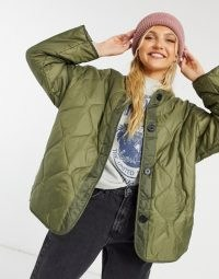 ASOS DESIGN quilted jacket with fleece lining in khaki ~ casual green jackets