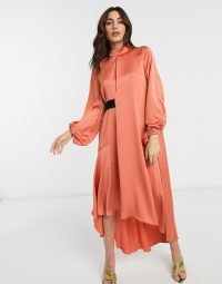 ASOS DESIGN satin high neck midi dress with blouson sleeve in rust   dark orange party dresses