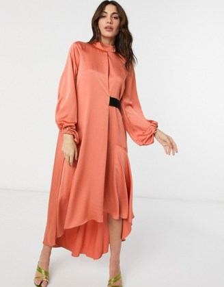 ASOS DESIGN satin high neck midi dress with blouson sleeve in rust | dark orange party dresses - flipped