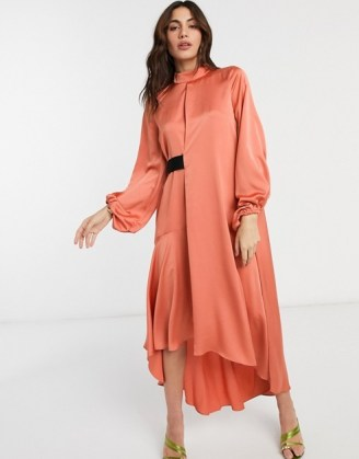 ASOS DESIGN satin high neck midi dress with blouson sleeve in rust | dark orange party dresses