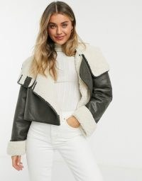 ASOS DESIGN shearling chuck on jacket in khaki ~ green faux leather borg lined jackets
