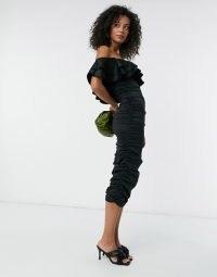 ASOS DESIGN Tall off shoulder ruched sleeve midi dress in black ~ bardot bodycon ~ frill neckline dresses