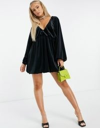 ASOS DESIGN velvet smock oversized mini dress in black | LBD | plunge front going out dresses | voluminous puff sleeves