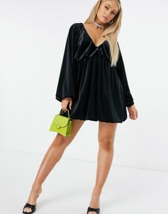 ASOS DESIGN velvet smock oversized mini dress in black | LBD | plunge front going out dresses | voluminous puff sleeves - flipped