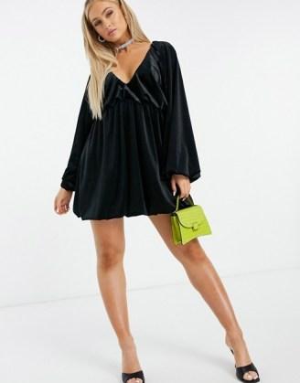 ASOS DESIGN velvet smock oversized mini dress in black | LBD | plunge front going out dresses | voluminous puff sleeves