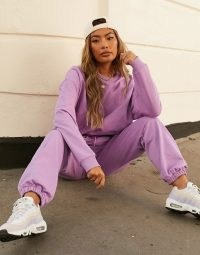ASOS DESIGN Weekend Collective co-ord oversized sweatshirt with tonal embroidery logo in lilac – urban street style