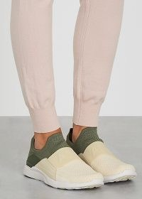 ATHLETIC PROPULSION LABS Techloom Bliss two-tone knitted sneakers ~ green and cream slip on trainers