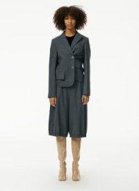 Tibi Auguste Houndstooth Shrunken Blazer ~ asymmetric blazers ~ asymmetrical fasten jacket