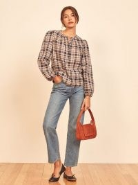 REFORMATION Autumn Top Evening Plaid ~ checked tops