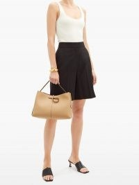 WANDLER Ava medium smooth-leather tote bag ~ beige shoulder bags ~ neutral top hand handbag