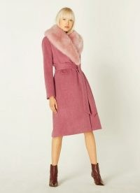 LK BENNETT AVA PALE PINK WOOL COAT / winter glamour / coats with faux fur collars