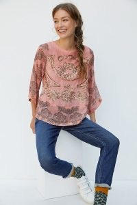 Ignacia Sequined Blouse in Peach at Anthropologie ~ sequin embellished blouses