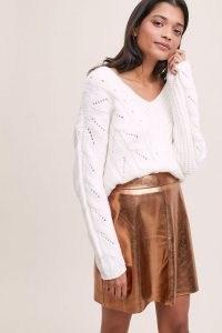ANTHROPOLOGIE Gina Faux Leather Mini Skirt / metallic skirts
