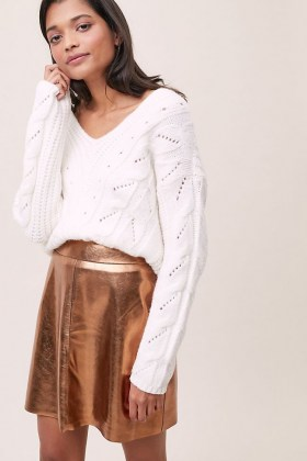 ANTHROPOLOGIE Gina Faux Leather Mini Skirt / metallic skirts - flipped