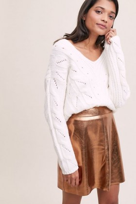 ANTHROPOLOGIE Gina Faux Leather Mini Skirt / metallic skirts