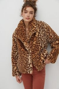 ANTHROPOLOGIE Courtney Leopard Print Faux Fur Jacket / wild cat jackets