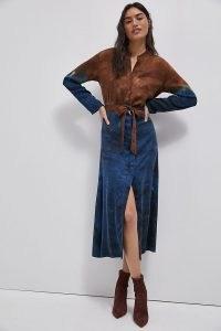 Cloth & Stone Perla Tie-Dye Maxi Dress / blue and brown shirt dresses
