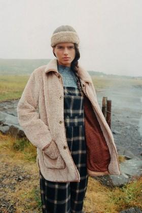 ANTHROPOLOGIE Amina Sherpa Coat / texture beige coats / faux fur winter jackets - flipped