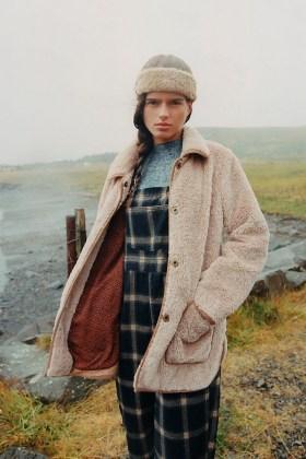ANTHROPOLOGIE Amina Sherpa Coat / texture beige coats / faux fur winter jackets