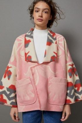Anthropologie Heidi Kimono Jacket in Pink   dolman sleeve jackets - flipped