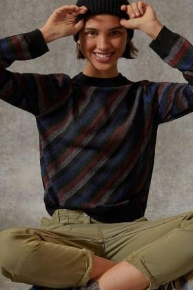 Anthropologie Davia Shimmer Sweater | metalic thread knits - flipped