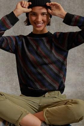 Anthropologie Davia Shimmer Sweater | metalic thread knits