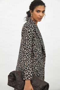 ANTHROPOLOGIE Gianna Longline Leopard Blazer / animal print blazers / glam jackets / glamorous outerwear