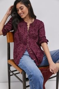 Pilcro Jolie Pintucked Blouse in Wine ~ floral embroidered blouses