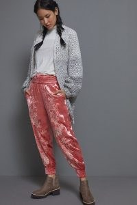 ANTHROPOLOGIE Rosie Embroidered Velvet Joggers ~ pink jogging bottoms ~ sports luxe look