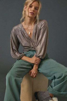 ANTHROPOLOGIE Luanne Shimmer Surplice Top / metallic pink wrap tops - flipped