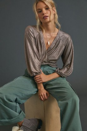 ANTHROPOLOGIE Luanne Shimmer Surplice Top / metallic pink wrap tops