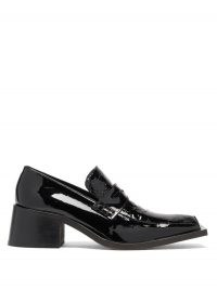 MARTINE ROSE Bagleys crocodile-embossed patent-leather loafers / shiny black block heel loafer / chunky heeled shoes