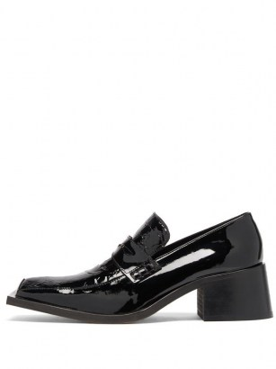 MARTINE ROSE Bagleys crocodile-embossed patent-leather loafers / shiny black block heel loafer / chunky heeled shoes - flipped