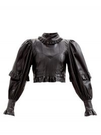 PACO RABANNE Balloon-sleeve ruffled faux-leather top ~ high neck volume sleeved crop tops