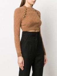 Balmain camel button-detail cropped jumper ~ brown crop hem jumpers